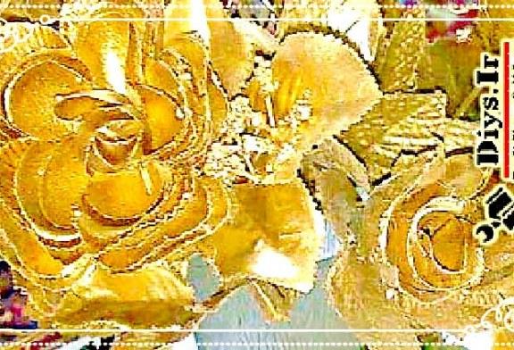 آموزش ساخت گل های پارچه ای طلایی