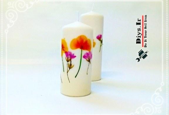 چگونه شمع تزیینی با گل بسازیم
