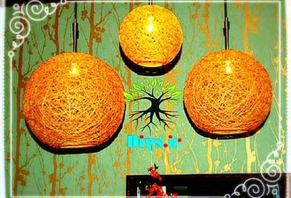 آموزش تصویری ساخت چراغ آویز کنفی