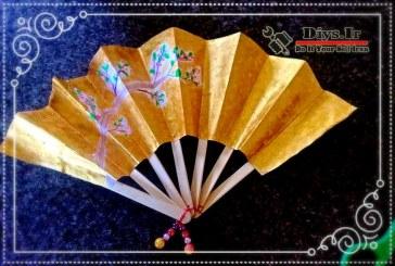 آموزش تصویری ساخت بادبزن دستی کاغذی