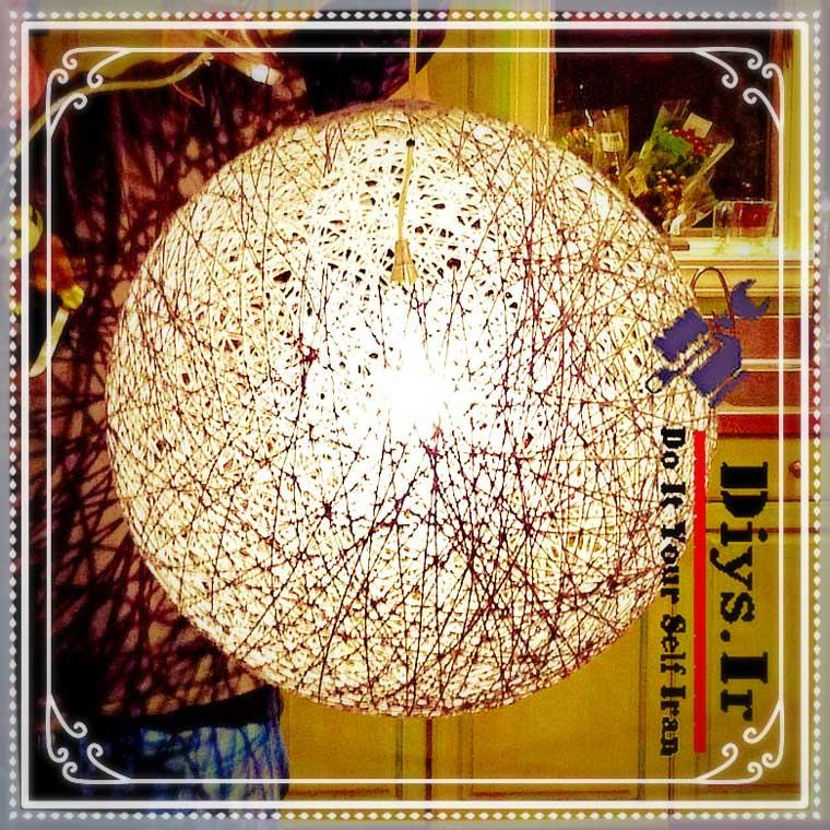 آموزش تصویری ساخت لامپ آویز کاموایی