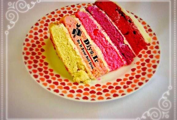 آموزش تصویری طرز تهیه کیک رنگین کمان